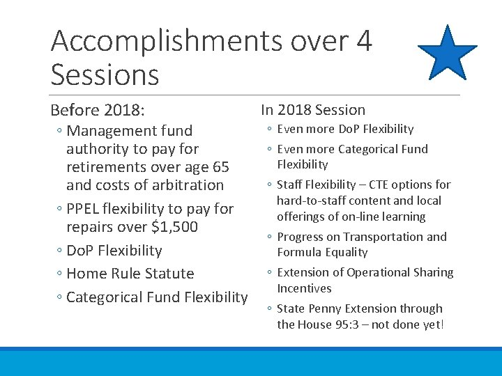 Accomplishments over 4 Sessions Before 2018: ◦ Management fund authority to pay for retirements