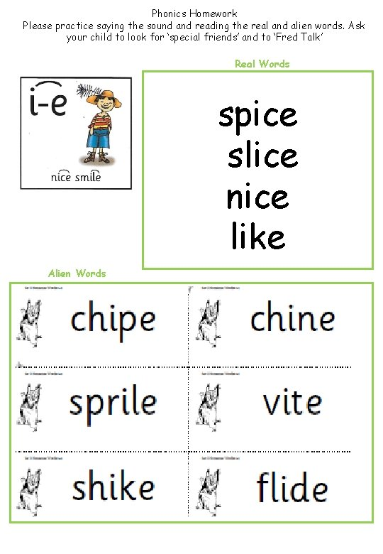 Phonics Homework Please practice saying the sound and reading the real and alien words.