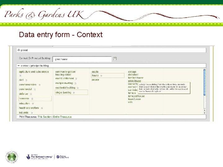Data entry form - Context