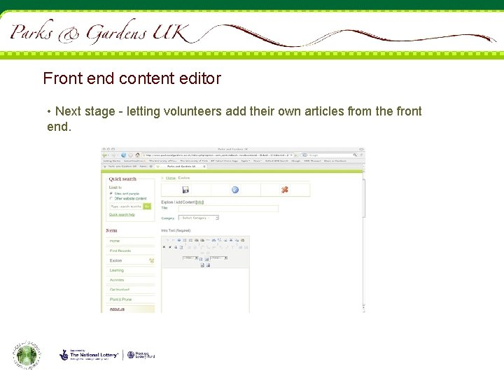 Front end content editor • Next stage - letting volunteers add their own articles