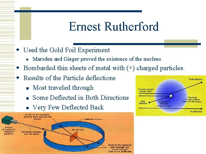 Ernest Rutherford w Used the Gold Foil Experiment n Marsden and Gieger proved the
