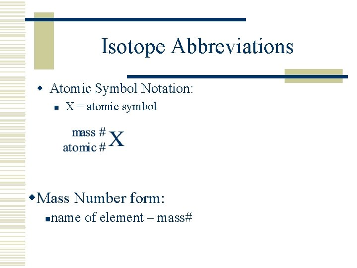 Isotope Abbreviations w Atomic Symbol Notation: n X = atomic symbol w. Mass Number