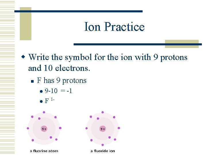 Ion Practice w Write the symbol for the ion with 9 protons and 10