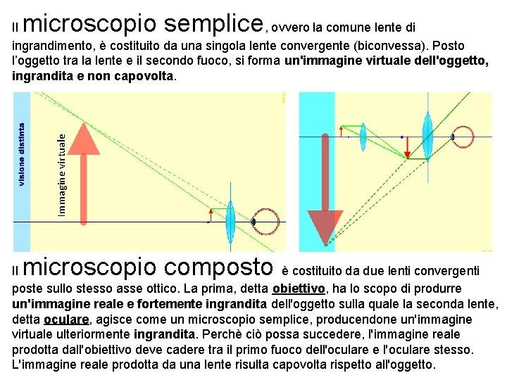 microscopio semplice Immagine virtuale Il , ovvero la comune lente di ingrandimento, è costituito