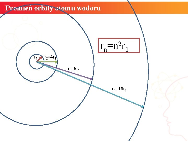 Promień orbity atomu wodoru rn=n 2 r 1 r 2=4 r 1 r 3=9