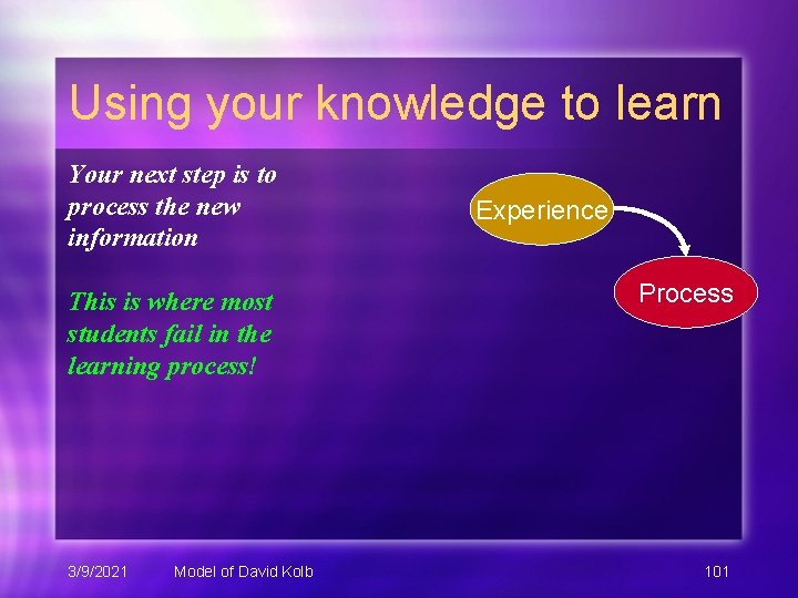 Using your knowledge to learn Your next step is to process the new information