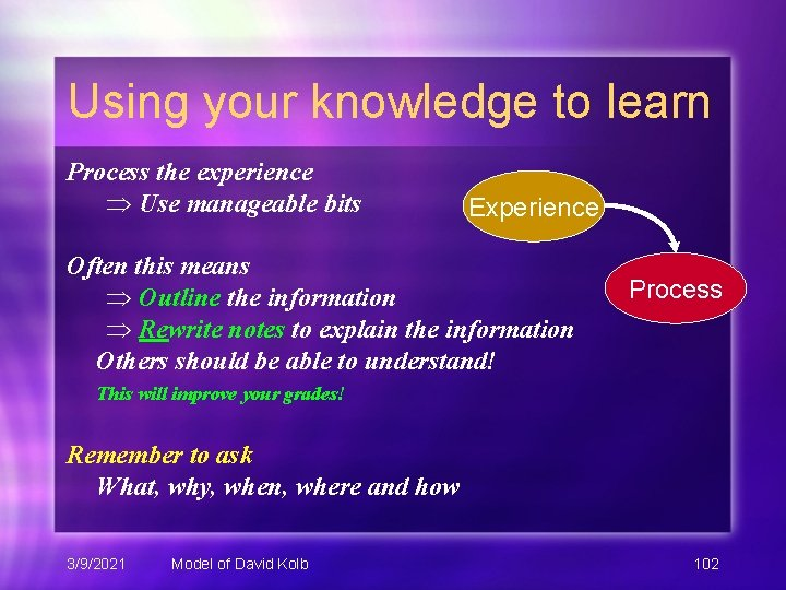 Using your knowledge to learn Process the experience Use manageable bits Experience Often this