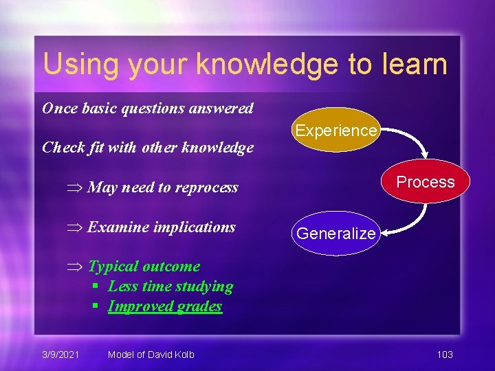 Using your knowledge to learn Once basic questions answered Check fit with other knowledge