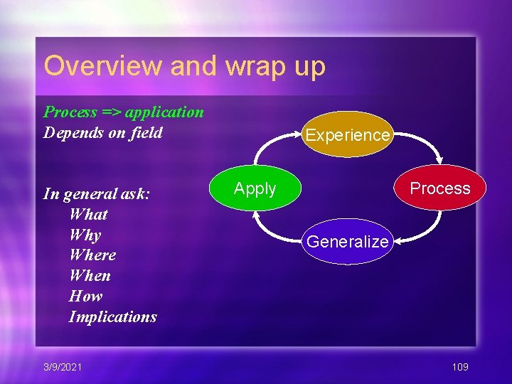 Overview and wrap up Process => application Depends on field In general ask: What