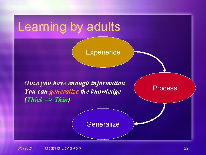 Learning by adults Experience Once you have enough information You can generalize the knowledge