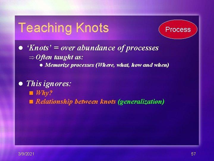 Teaching Knots l Process 'Knots' = over abundance of processes Often taught as: l