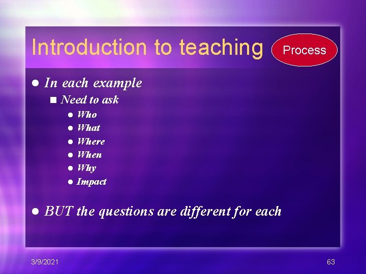 Introduction to teaching l Process In each example n Need to ask Who l