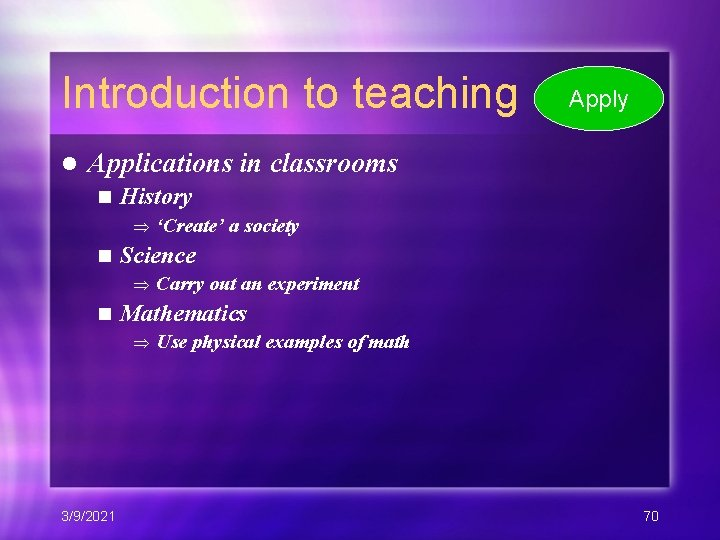 Introduction to teaching l Apply Applications in classrooms n History 'Create' a society n