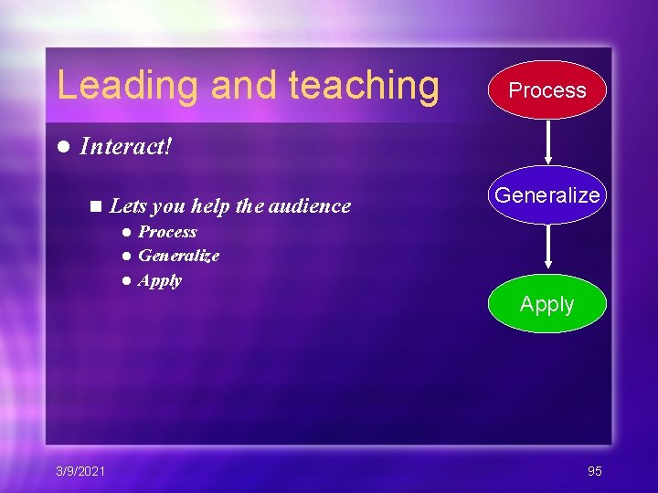 Leading and teaching l Process Interact! n Lets you help the audience Generalize Process