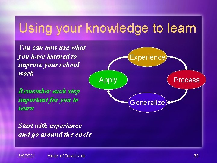 Using your knowledge to learn You can now use what you have learned to