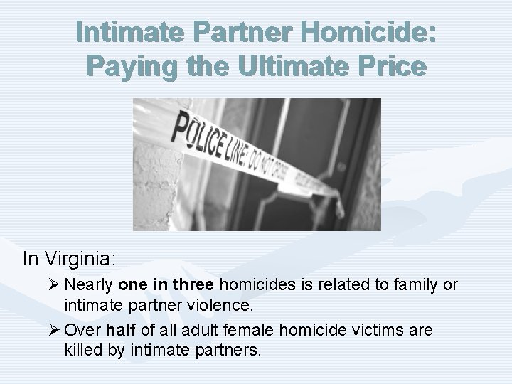Intimate Partner Homicide: Paying the Ultimate Price In Virginia: Ø Nearly one in three