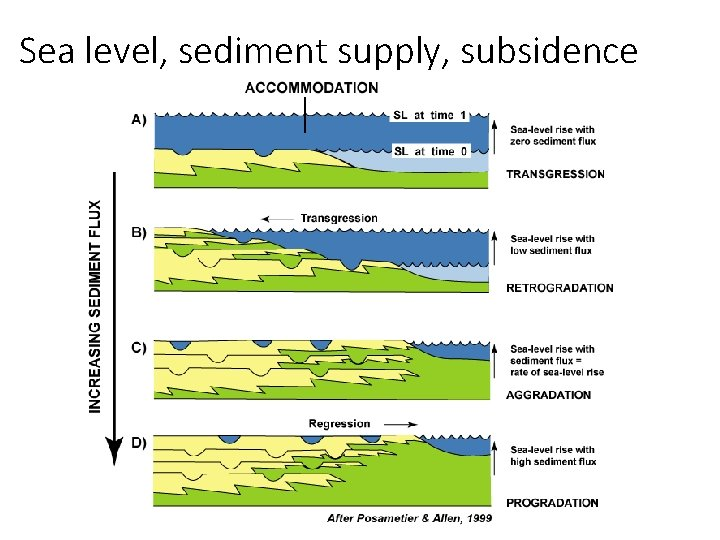 Sea level, sediment supply, subsidence