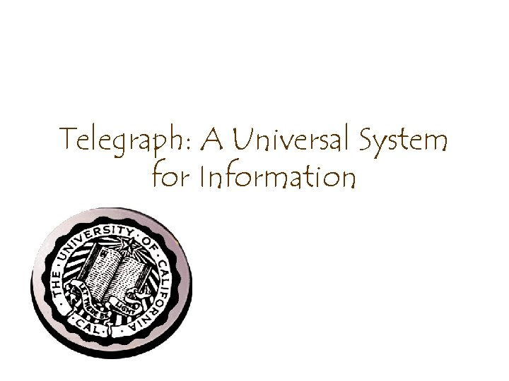 Telegraph: A Universal System for Information