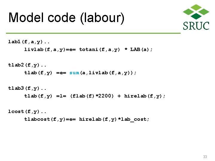 Model code (labour) lab 1(f, a, y). . livlab(f, a, y)=e= totani(f, a, y)