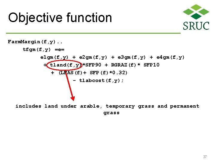 Objective function Farm. Margin(f, y). . tfgm(f, y) =e= e 1 gm(f, y) +