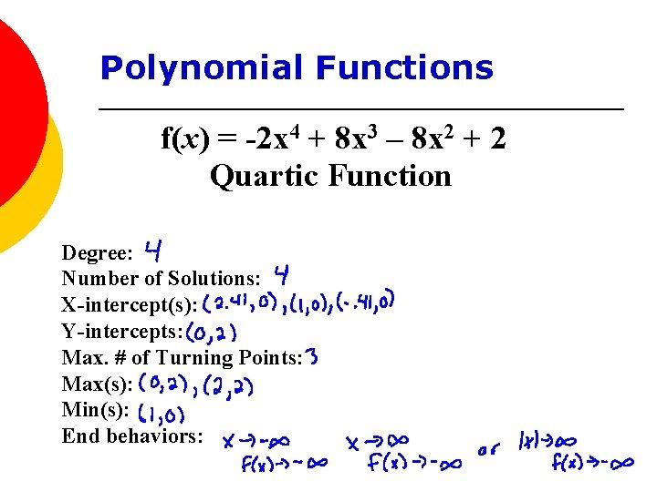 Polynomial Functions f(x) = -2 x 4 + 8 x 3 – 8 x