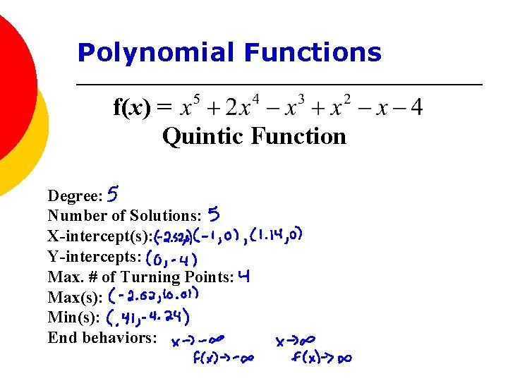 Polynomial Functions f(x) = Quintic Function Degree: Number of Solutions: X-intercept(s): Y-intercepts: Max. #