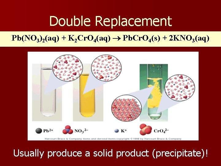 Double Replacement Pb(NO 3)2(aq) + K 2 Cr. O 4(aq) Pb. Cr. O 4(s)