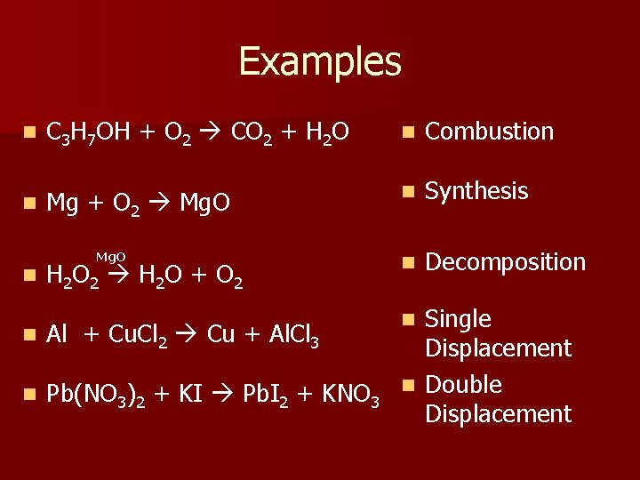Examples C 3 H 7 OH + O 2 CO 2 + H 2