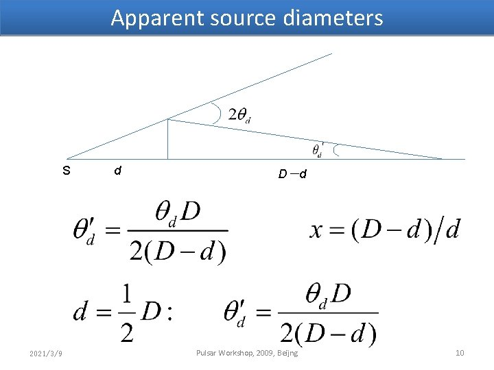 Apparent source diameters S 2021/3/9 d D-d Pulsar Workshop, 2009, Beijng 10