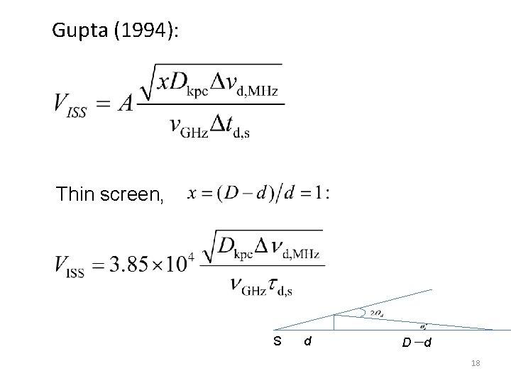 Gupta (1994): Thin screen, S d D-d 18