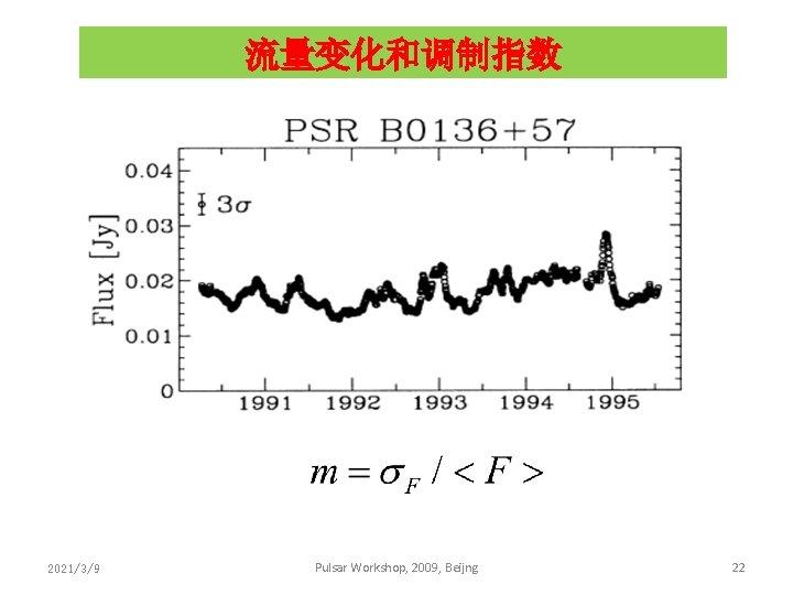 流量变化和调制指数 2021/3/9 Pulsar Workshop, 2009, Beijng 22