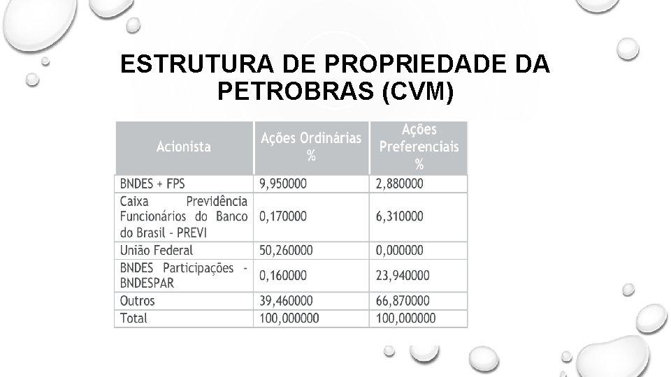 ESTRUTURA DE PROPRIEDADE DA PETROBRAS (CVM)