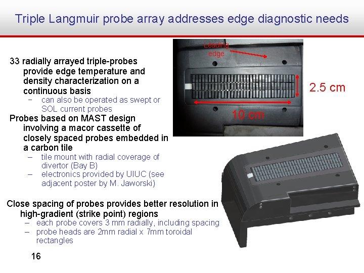 Triple Langmuir probe array addresses edge diagnostic needs 33 radially arrayed triple-probes provide edge