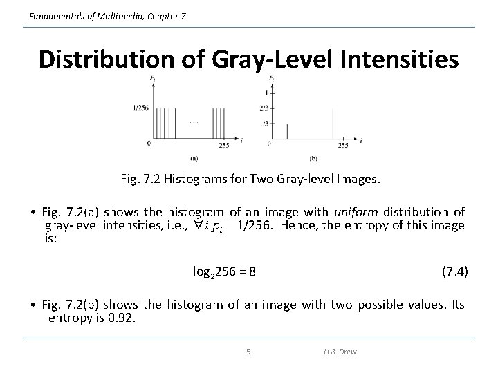 Fundamentals of Multimedia, Chapter 7 Distribution of Gray-Level Intensities Fig. 7. 2 Histograms for
