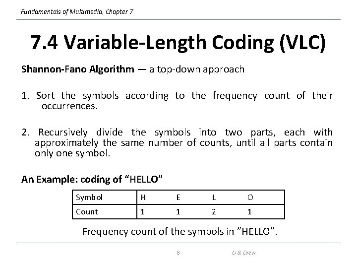 Fundamentals of Multimedia, Chapter 7 7. 4 Variable-Length Coding (VLC) Shannon-Fano Algorithm — a