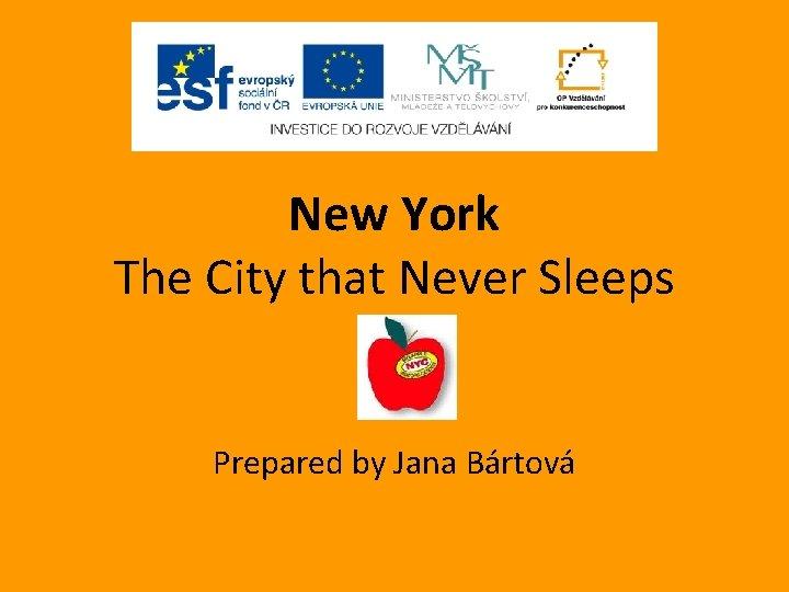 New York The City that Never Sleeps Prepared by Jana Bártová