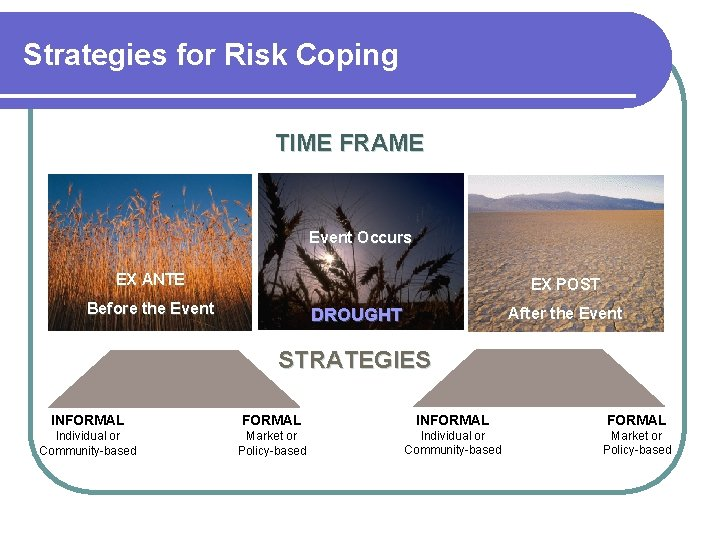 Strategies for Risk Coping TIME FRAME Event Occurs EX ANTE EX POST Before the