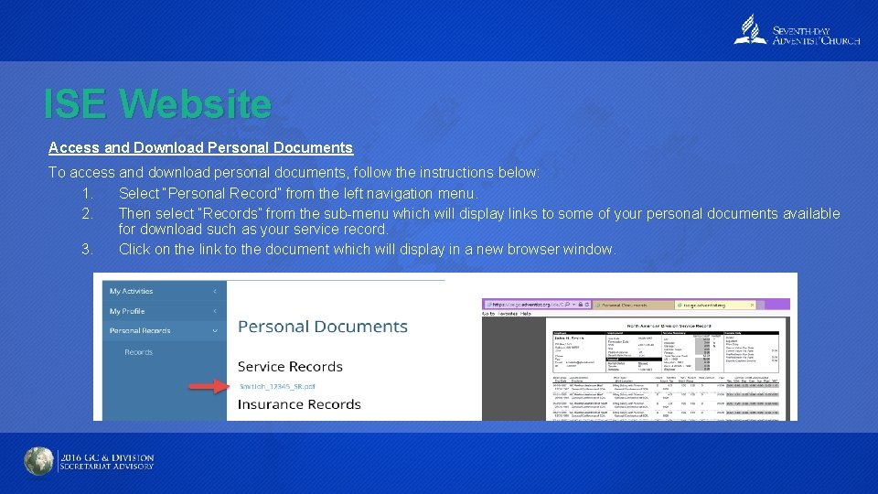 ISE Website Access and Download Personal Documents To access and download personal documents, follow