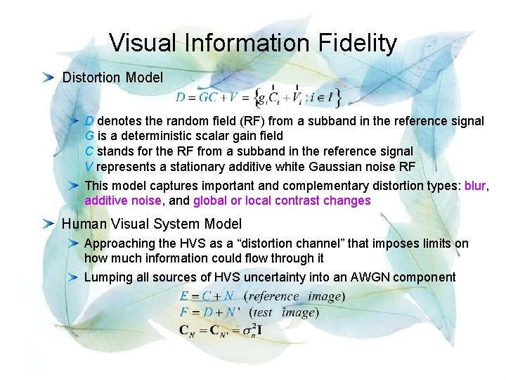 Visual Information Fidelity Distortion Model D denotes the random field (RF) from a subband