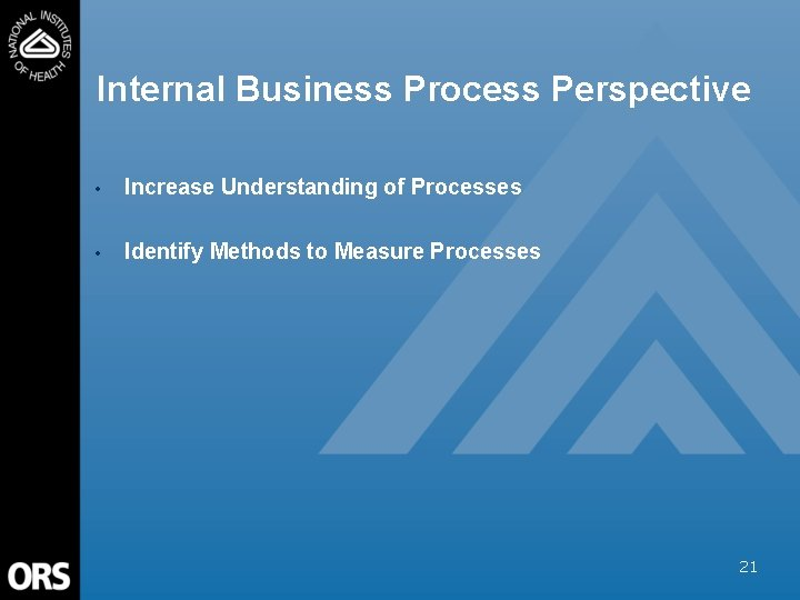 Internal Business Process Perspective • Increase Understanding of Processes • Identify Methods to Measure