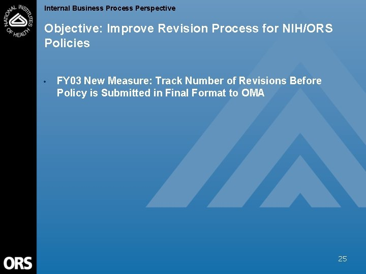 Internal Business Process Perspective Objective: Improve Revision Process for NIH/ORS Policies • FY 03