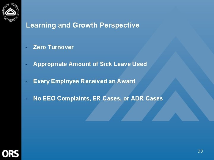 Learning and Growth Perspective • Zero Turnover • Appropriate Amount of Sick Leave Used