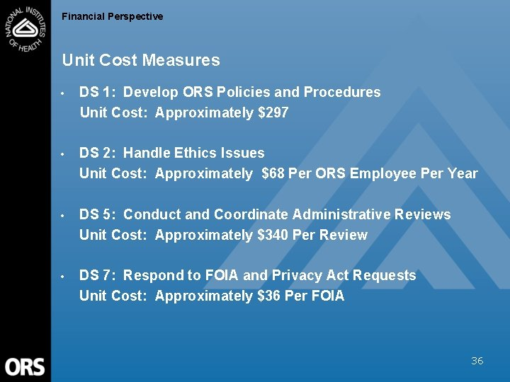 Financial Perspective Unit Cost Measures • DS 1: Develop ORS Policies and Procedures Unit