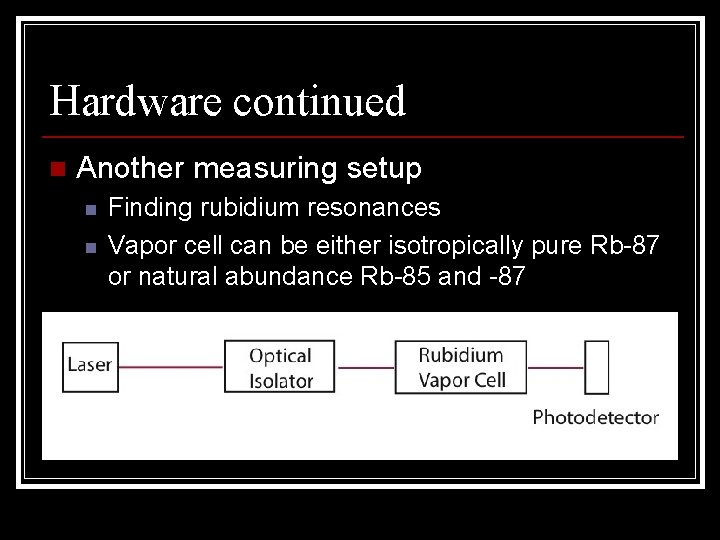 Hardware continued n Another measuring setup n n Finding rubidium resonances Vapor cell can