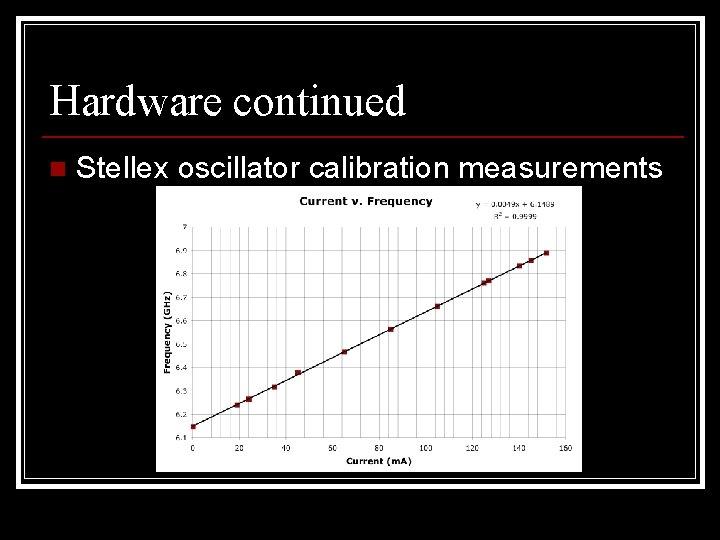 Hardware continued n Stellex oscillator calibration measurements