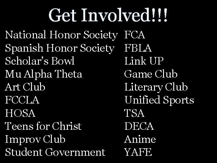 Get Involved!!! National Honor Society Spanish Honor Society Scholar's Bowl Mu Alpha Theta Art