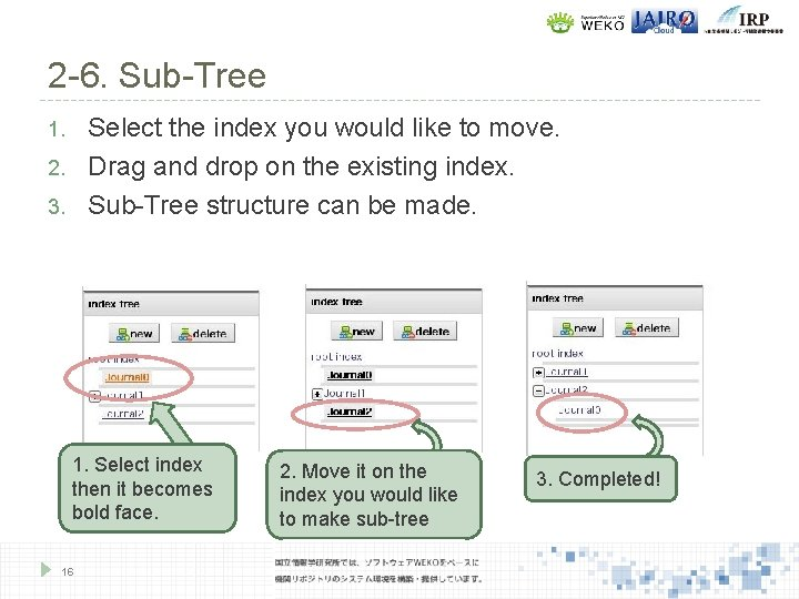 2 -6. Sub-Tree Select the index you would like to move. Drag and drop