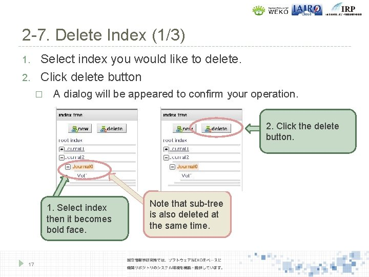 2 -7. Delete Index (1/3) 1. 2. Select index you would like to delete.