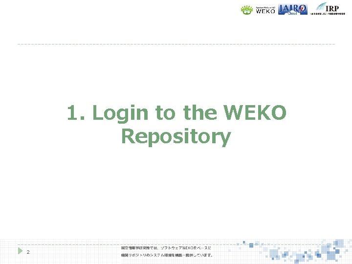 1. Login to the WEKO Repository 2