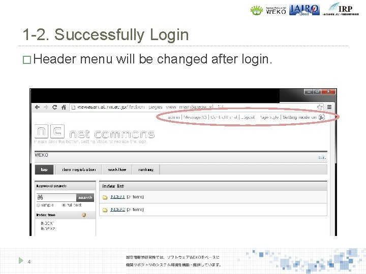 1 -2. Successfully Login � Header 4 menu will be changed after login.